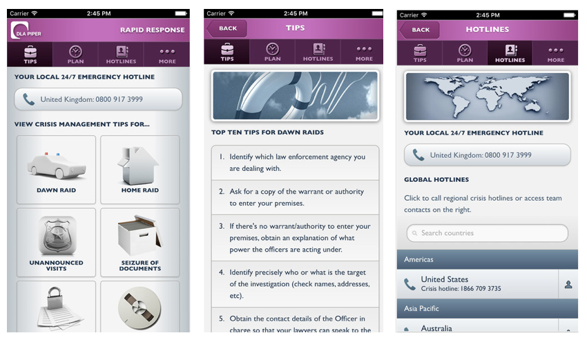 Law firm mobile apps interface
