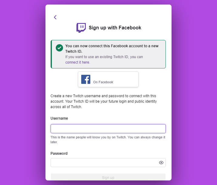 Twitch social media user registration
