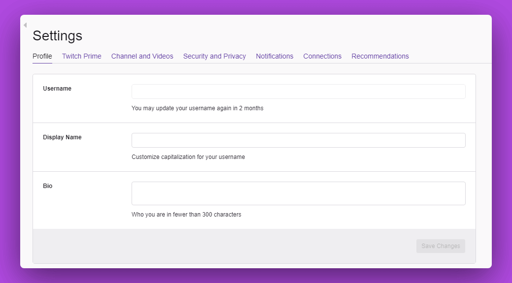Twitch user profile settings