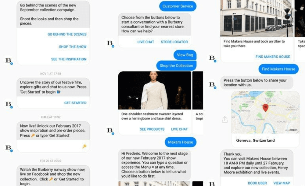 Burberry Facebook chatbot