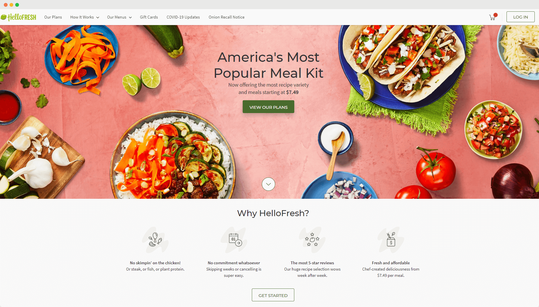 hello fresh meal kit delivery home page