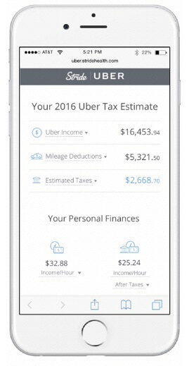 Stride, an online tax app, integrated Uber API