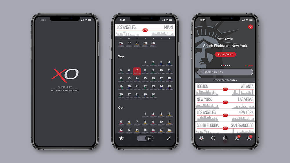 XO mobile app for booking jets