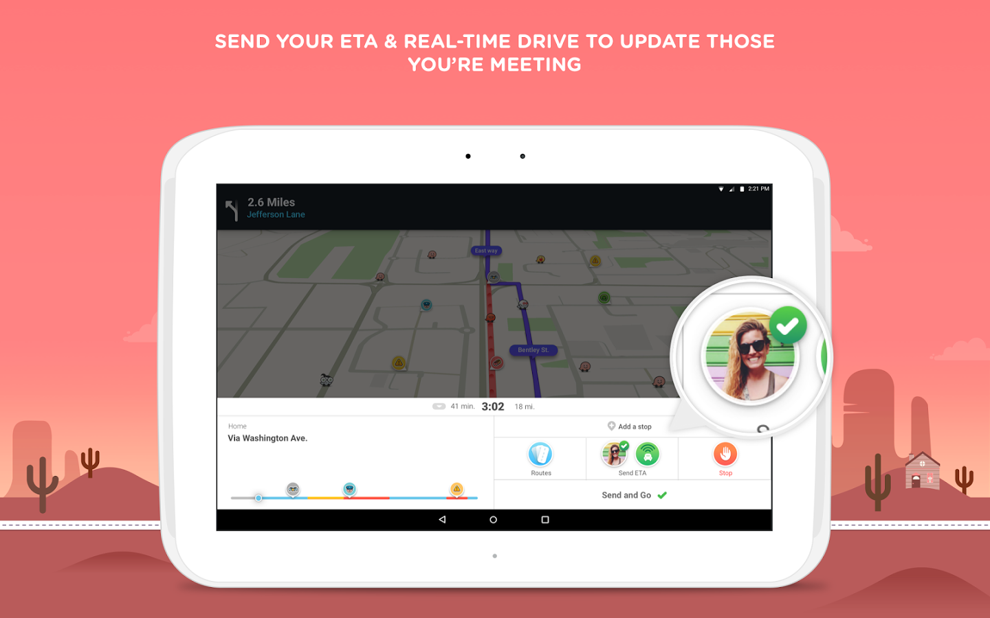 Waze navigation app interface
